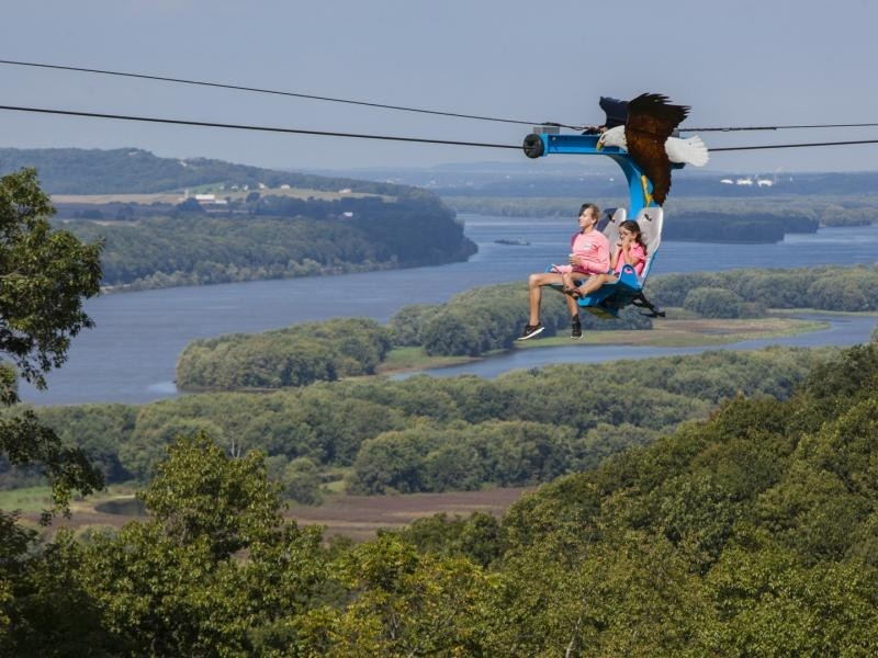 Chestnut Mountain's Soaring Eagle soars above the Mississippi River. (Chestnut Mountain/Facebook)