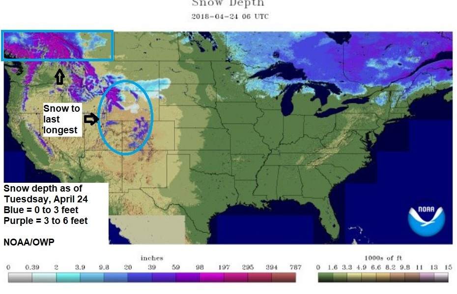 Areas north/west will hang onto the snow the longest. (NOAA/OWP)