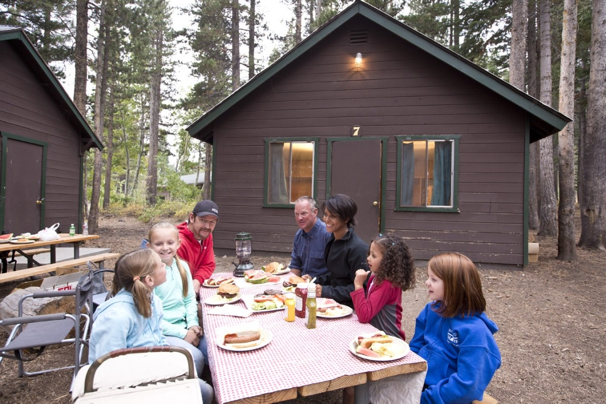 Rent a cabin in the woods for a family getaway. (Mammoth)