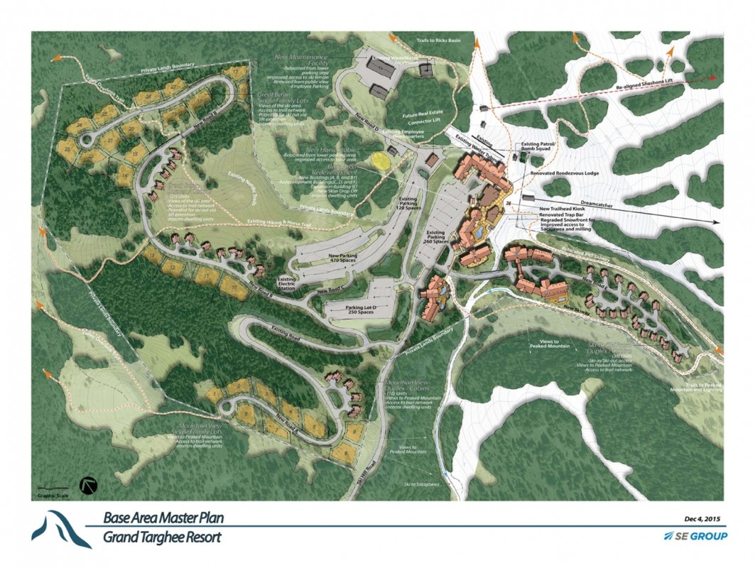 Schematic map of proposed base area improvements. (Grand Targhee Master Plan)