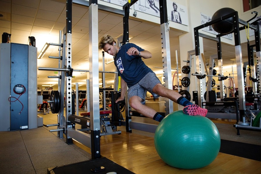World cup skier AJ Ginnis working out at the Center of Excellence in Park City. (U.S. Ski & Snowboard)