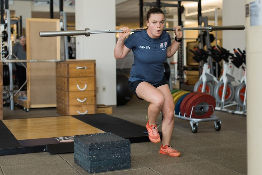 World Cup alpine ski racer Breezy Johnson uses quick movements quickly to add cardio to balance/strengthening exercise. (U.S. Ski & Snowboard)