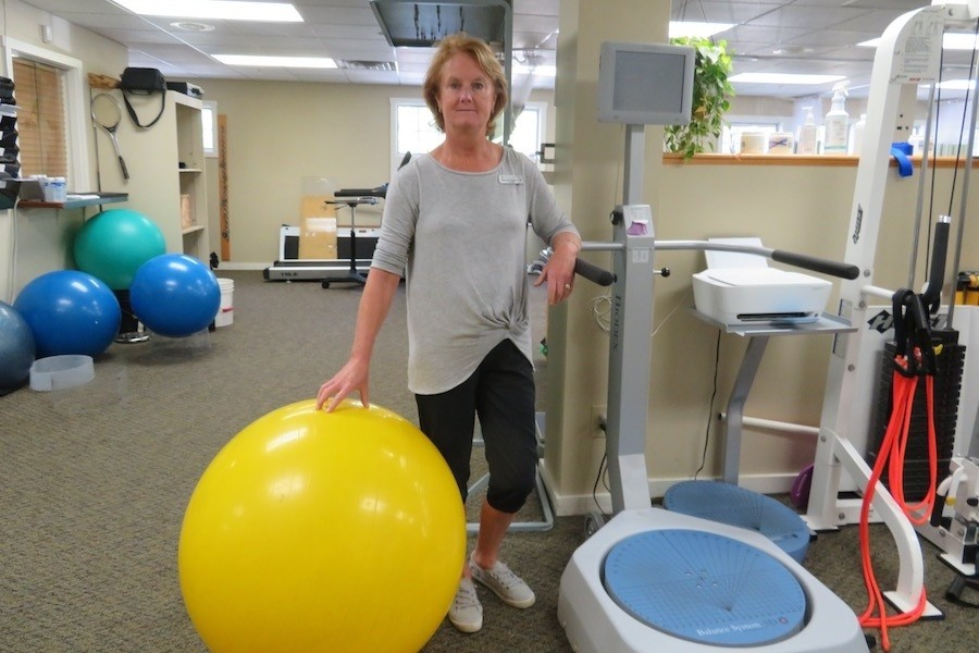 Gibeault with a large exercise ball - good for many exercises that engage the core and build stability. (Karen Lorentz)