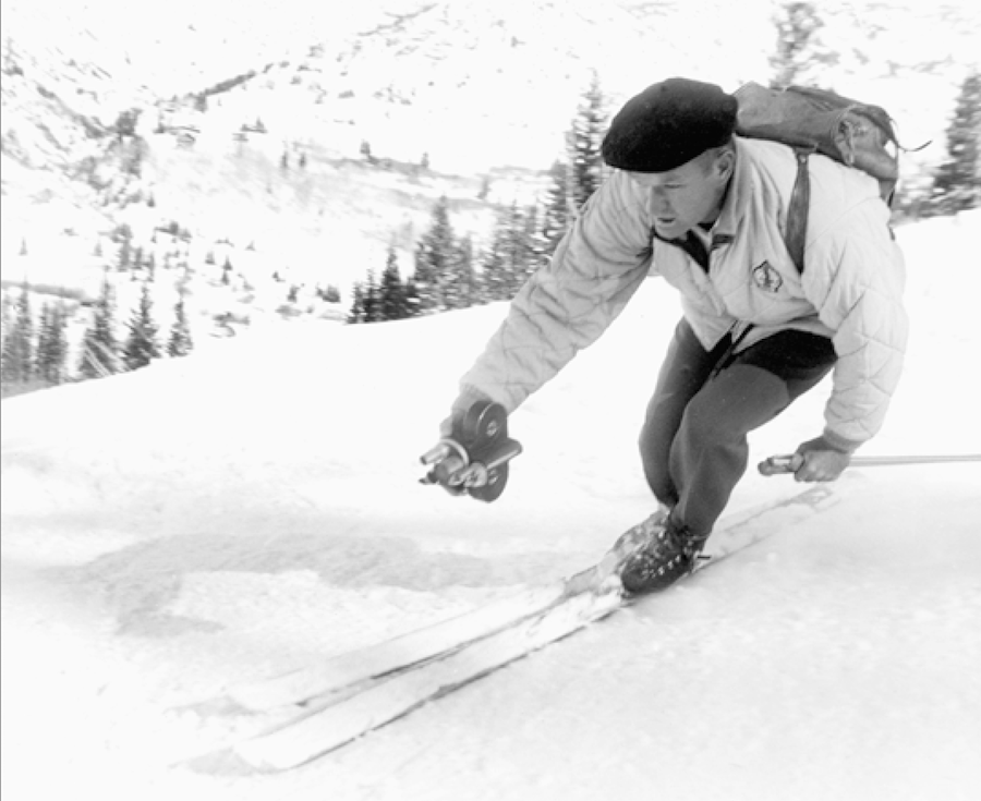 Warren was always looking for a new angle, whether from in front, alongside, or above. (Warren Miller Entertainment/Sun Valley)