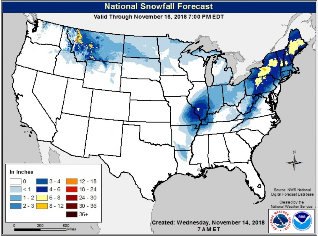 The snow forecast through Friday evening shows big impacts from a coastal storm across the northeast, and a quick, energetic shot of snow for the northern Rockies. (NOAA)