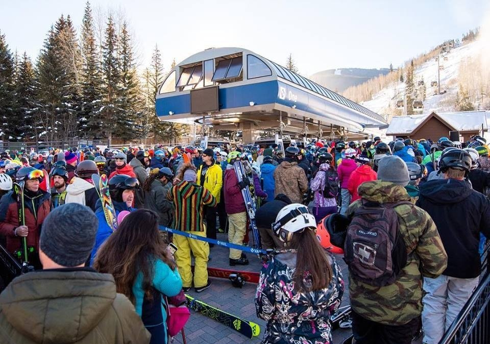 First-day crowds eager for inaugural run of season at Vail. (Vail Mountain/Facebook)
