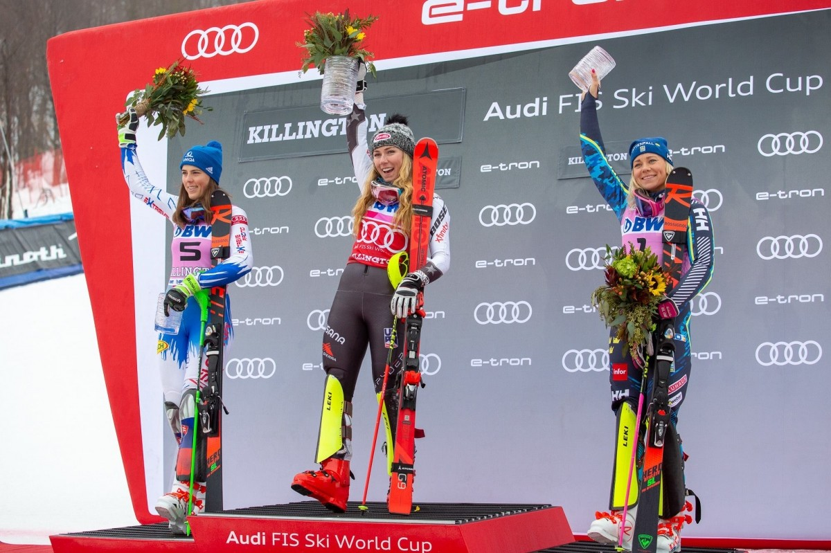 Shiffrin is joined on the podium by Petra Vlhova and Frida Hansdotter. (Killington/Facebook)