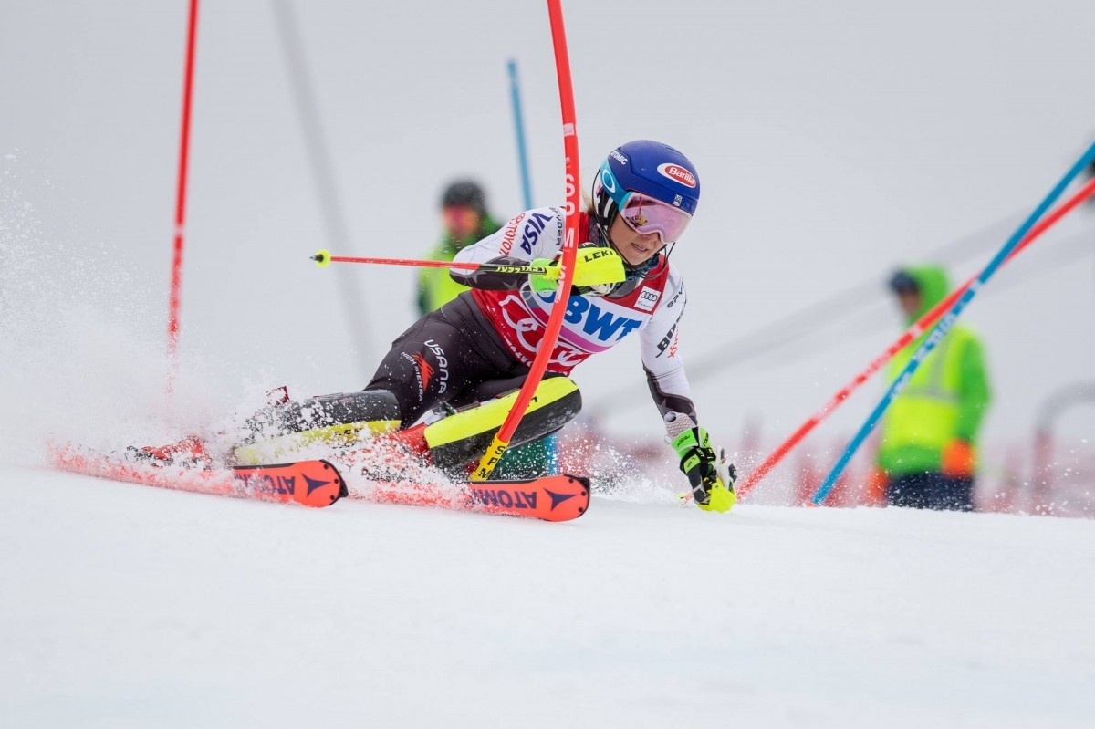 Mikaela Shiffrin races to the top step at the Killington slalom podium. (Killington/Facebook)