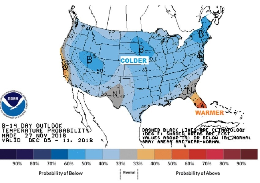Early December temperatures (blue=cold). (NWS/CPC)