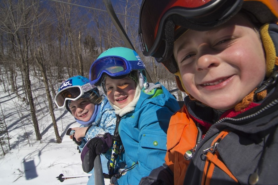 Giggles on the chairlift. (Sunday River)