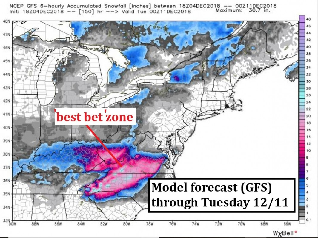 Big totals expected in the southern Appalachian Mountains by early this upcoming week. A foot or more is possible for some southeast resorts. (Weatherbell)