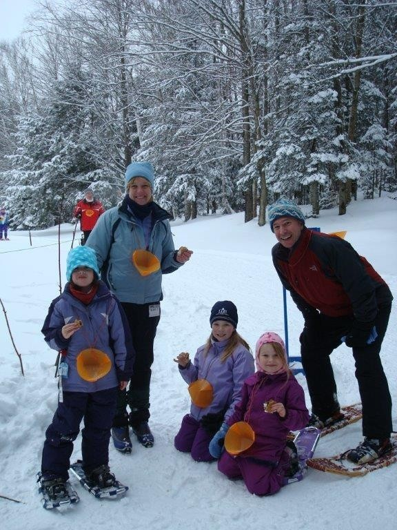 Eat you way to fitness with the kids on snowshoes.(Roger Lohr)