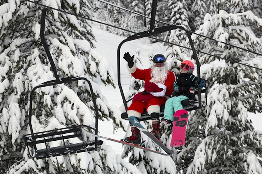 Santa Claus out playing with children on the slopes of Lookout Pass Ski & Recreation area. (Lookout Pass)