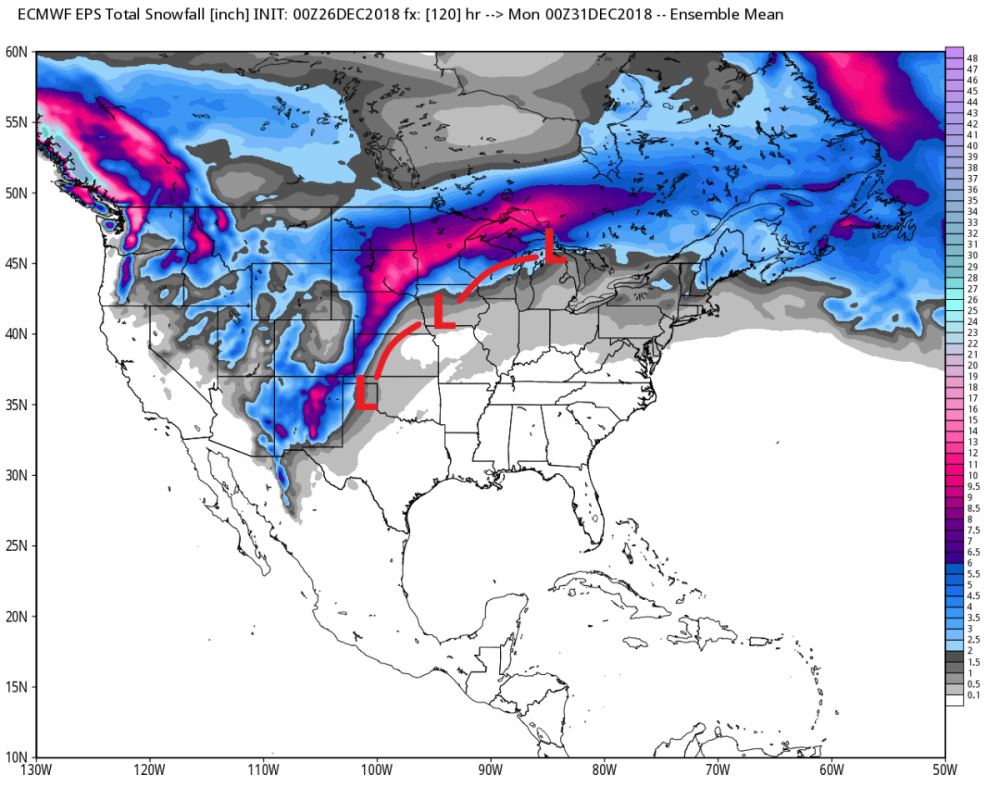 Model forecast snowfall and main storm to watch in the days ahead. Many areas get snow to finish the year.