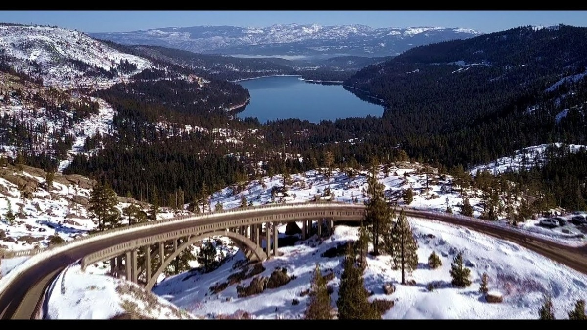 The famous Donner Summit Bridge curls over Donner Pass in the northern Sierra. (YouTube)
