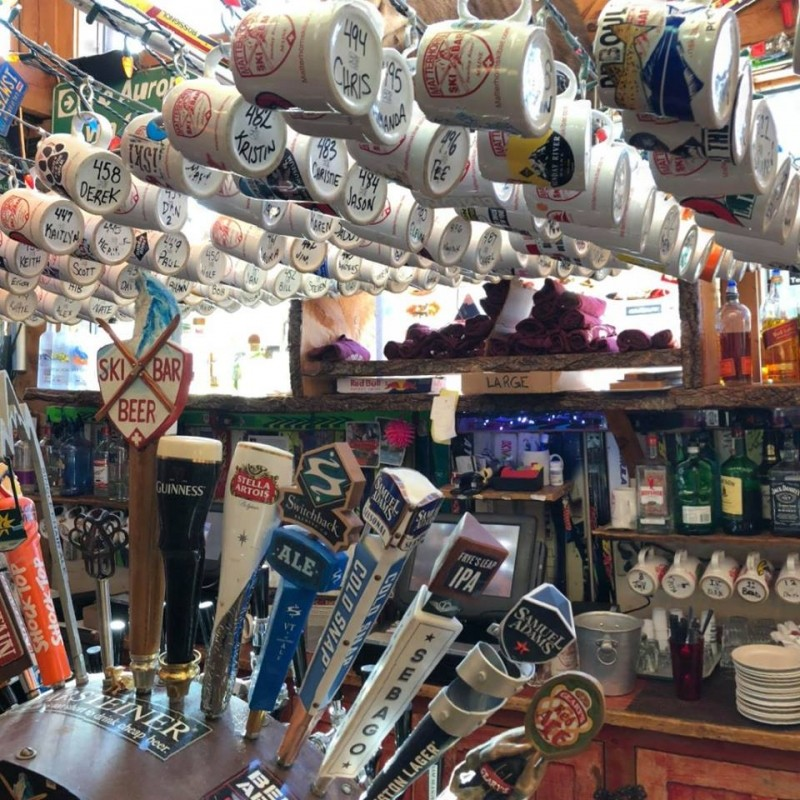 Packed with beer taps and personalized mugs at Matterhorn Ski Bar at Sunday River. (Matterhorn Ski Bar/Facebook)