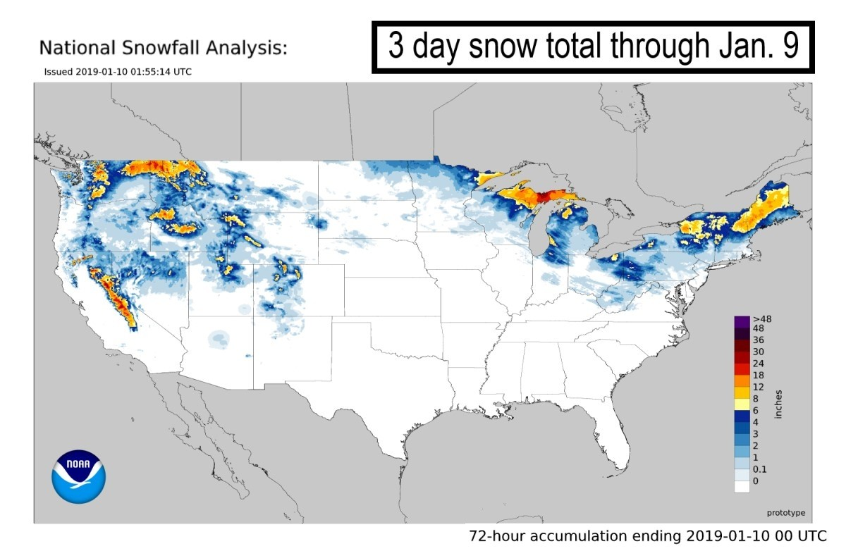 Closing out an active stretch, 3 day snowfall totals are impressive across the U.S. (NOAA/NWS)