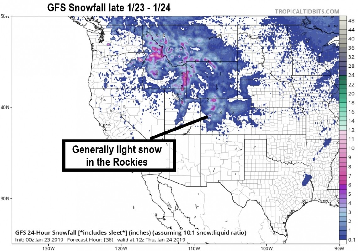Forecast model snowfall for the western U.S. brings light snow and a break from big storms (TropicalTidbits.com)