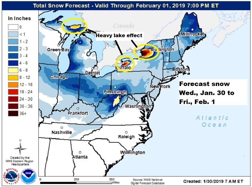 Snowfall Wednesday to Friday. (NOAA/NWS)
