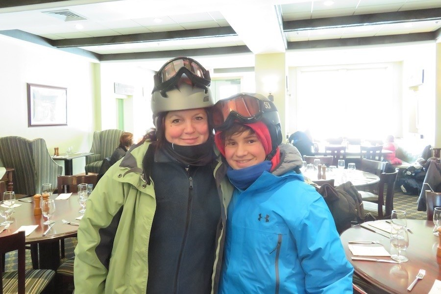 Alison and Ryan Dvorak ready to head out after lunch at Okemo's Jackson Gore. (Karen Lorentz)