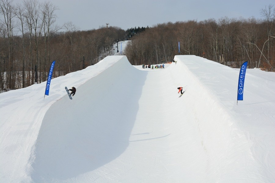Learning to launch in the Superpipe. (Okemo)