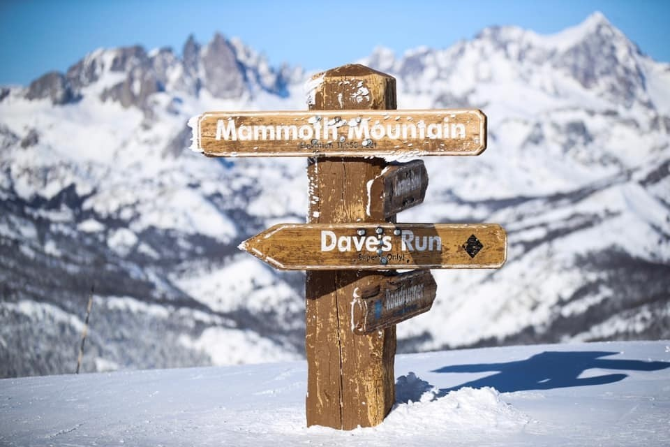 Trail sign at Mammoth Mountain barely visible after four feet fell over five days. (Mammoth Mountain/Facebook)