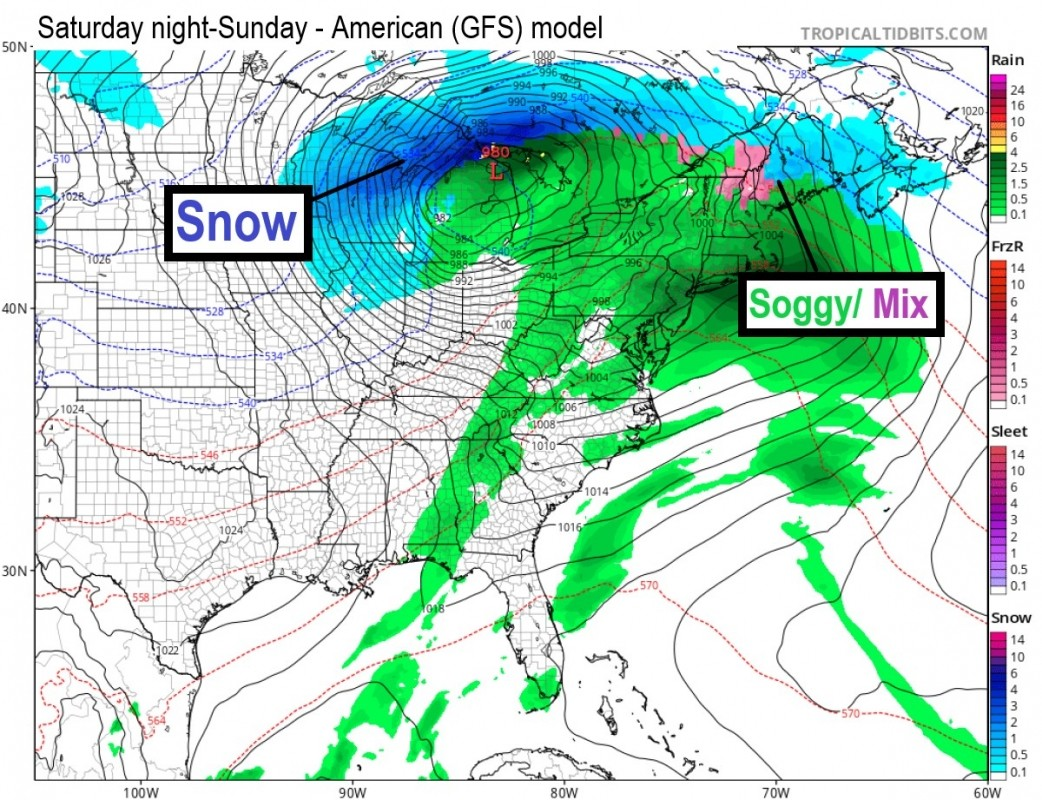 The next storm for the Midwest and East will bring snow for some, a mix for others. Look to Wisconsin for best bets