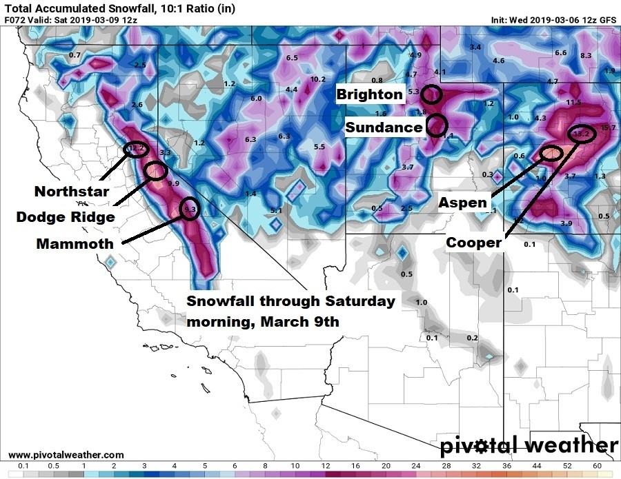 Snowfall by Saturday morning, March 9. (Pivotal Weather)
