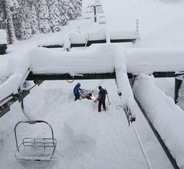 Crews at Tahoe resorts often had dig out the loading and unloading zones of chairlifts. (Homewood/Facebook)