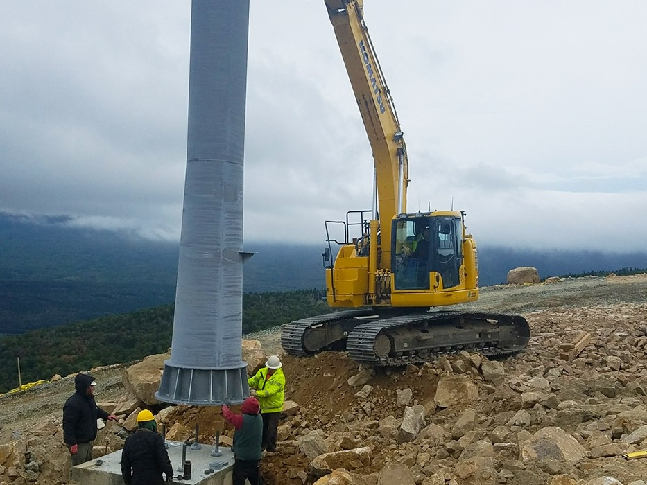 Construction on Bretton Woods' new gondola top terminal last summer. (Bretton Woods)