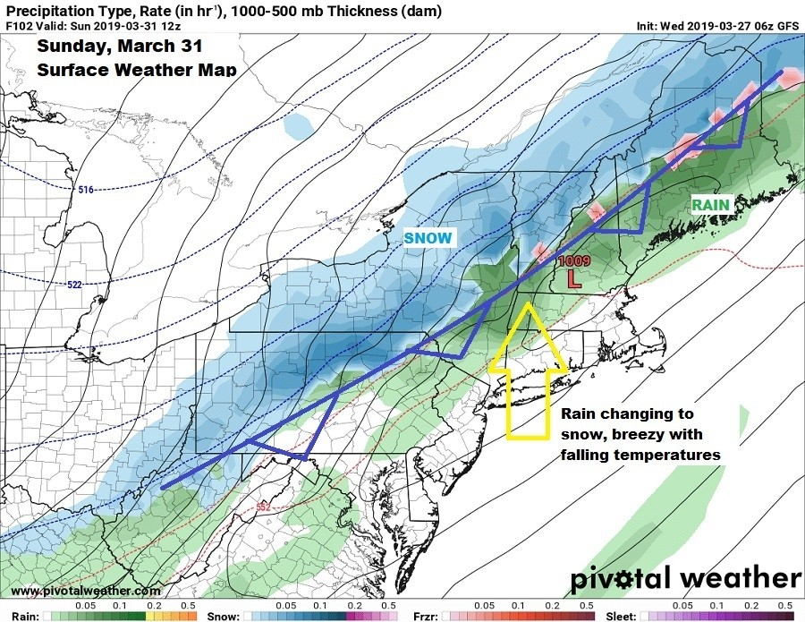 A cold front changes rain to snow Sunday, March 31. (Pivotal Weather)