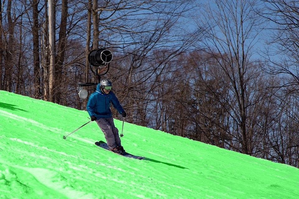 Boyne Mountain turned the slopes green on April 1 in honor of Michigan State making the NCAA Final Four. They are open daily through April 14 and weekends beyond. (Boyne Mountain/Facebook)