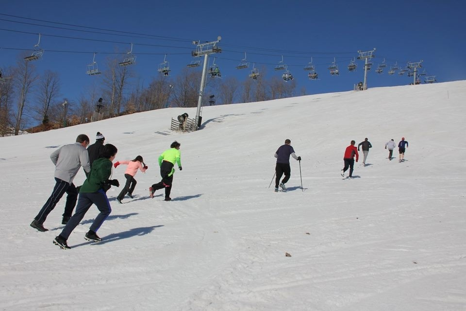 Crystal Mountain skiers are so excited about staying open into April they are running up the slopes. (Crystal Mountain/Facebook)