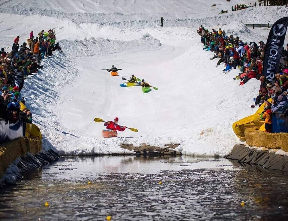 The traditional pond-skimming end of the season is nothing if it's not whacky – like the kayak skim at Monarch. (Monarch/Facebook)