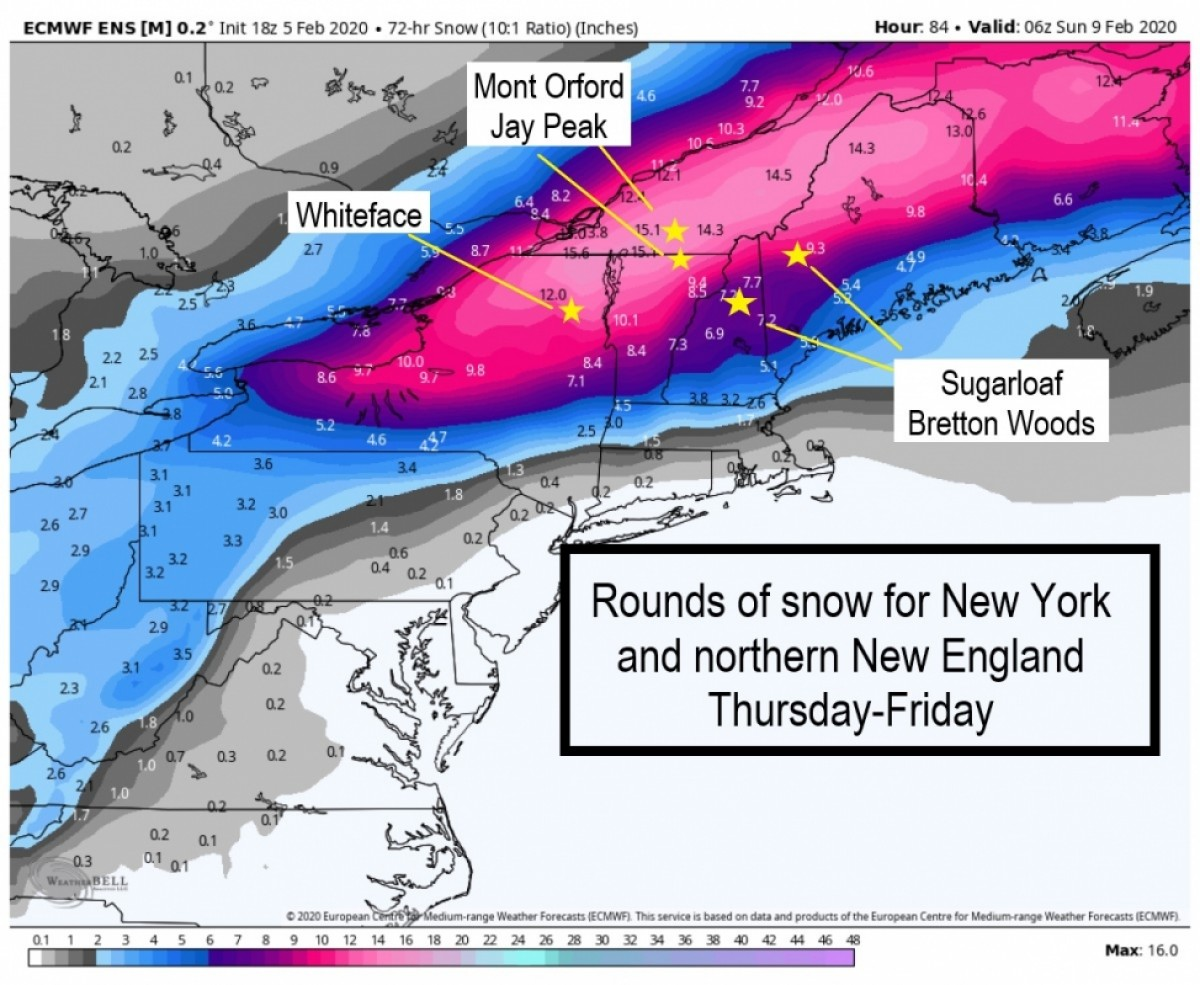 Northeast snow forecast map