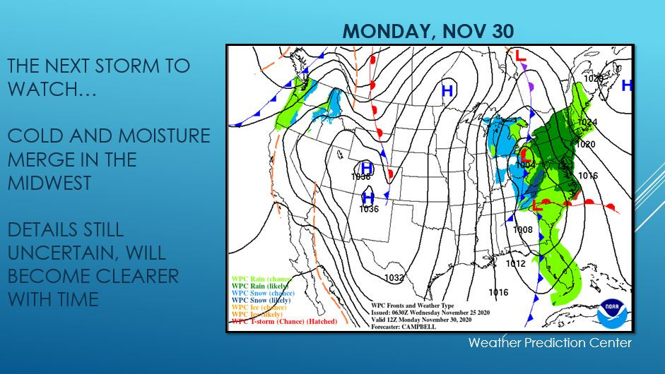 Map of US with potential storm developing in the Midwest Monday Nov 30
