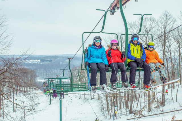1) Family skiing together at Wild Mountain through the Minnesota Ski Areas Association passport program.