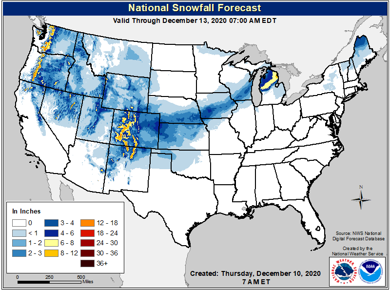 National Weather Service snow forecast through Sunday December 13 (NWS)
