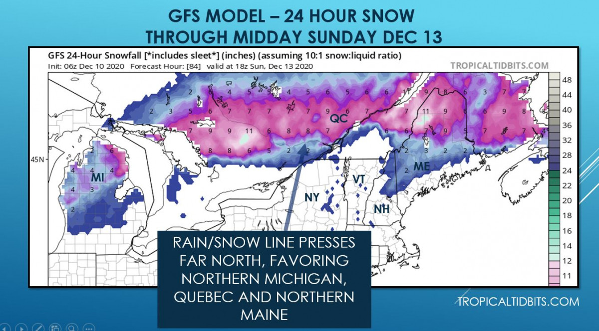 Modeled snowfall outlook through midday Sunday Dec 13 for the northeast and Canada (TropicalTidbit.com)