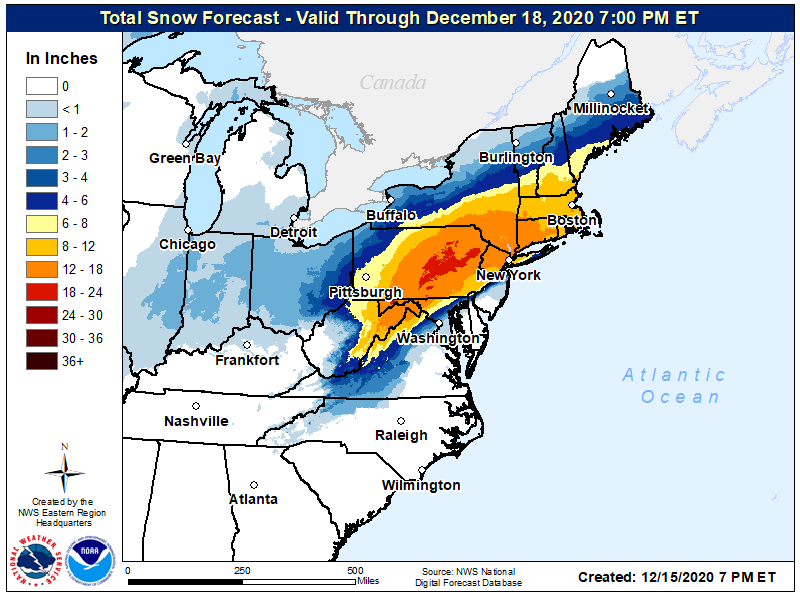 Northeast snowfall forecast map  (National Weather Service)
