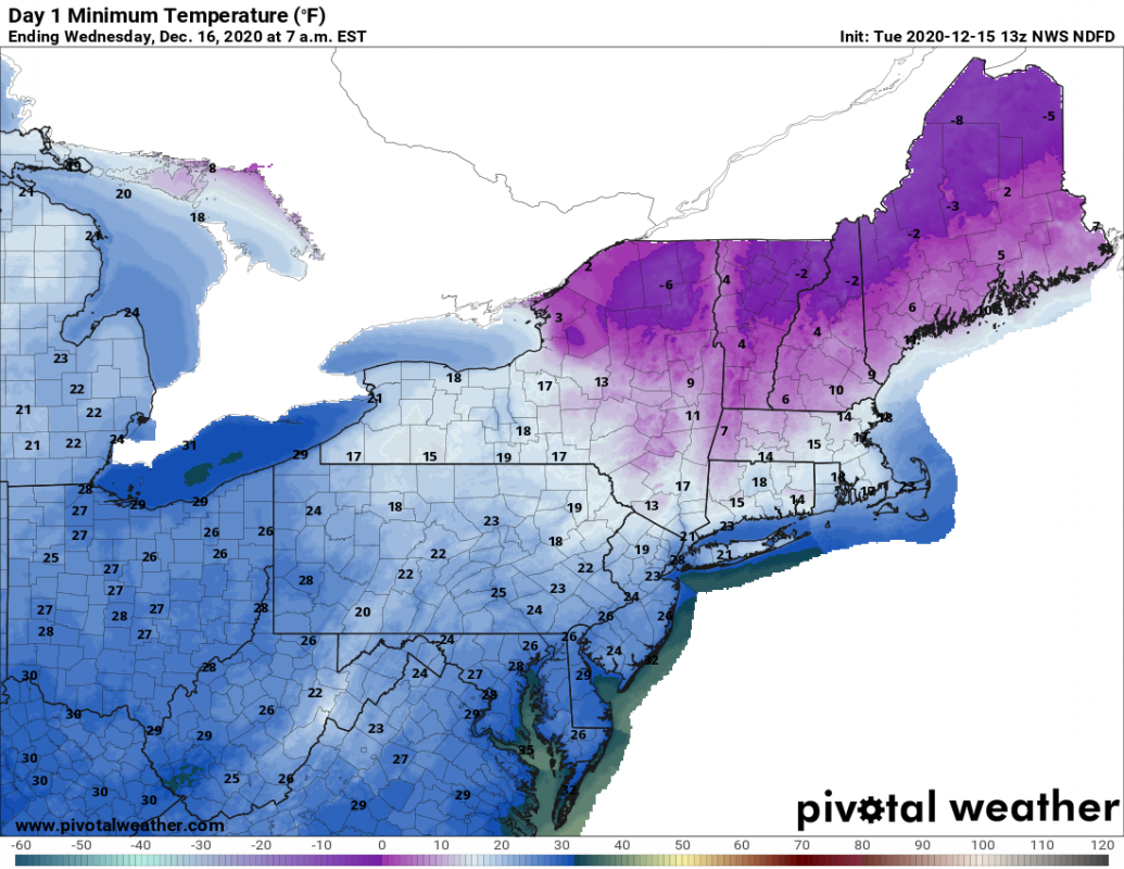 Northeast temperature forecast Wednesday morning Dec 16 (NWS and Pivotal Weather)