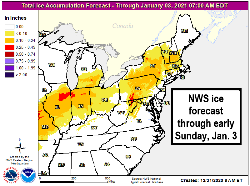 NWS ice forecast in the northeast through early Jan 3