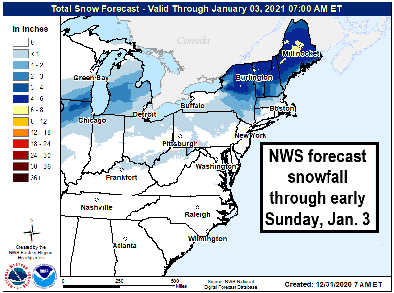 NWS forecast snowfall in the Northeast though early Jan 3