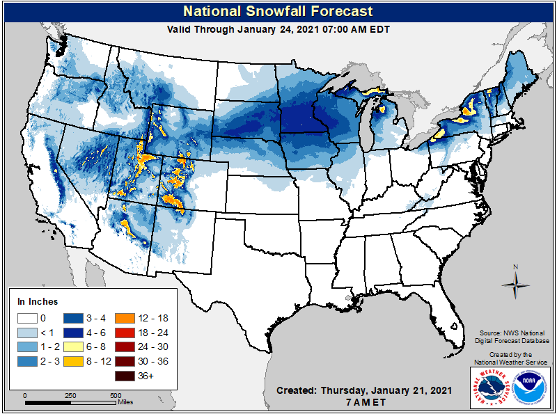 Snowfall forecast for the US through early Sunday, January 23. (NWS)
