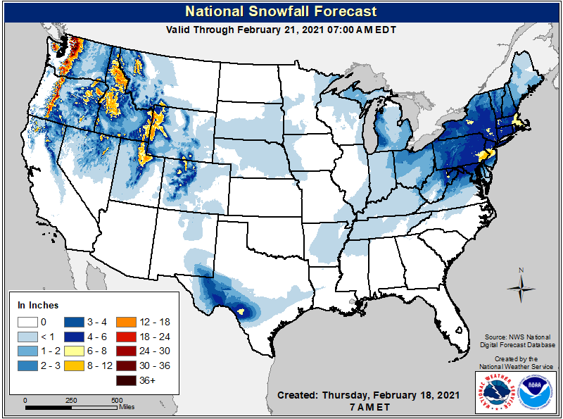 Snow forecast map for the U.S. through Sunday February 21 (NOAA NWS)