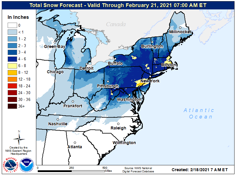 Snow forecast for the East through early Sunday, February 21 (NOAA NWS)